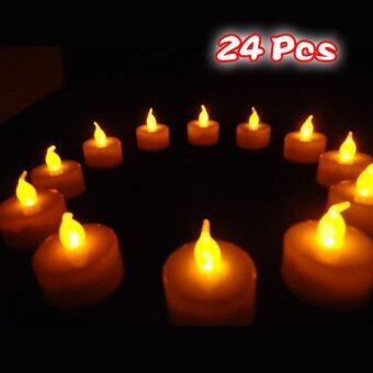 Harga 24 Flickering Candle Set Runs on Batteries Flickers Like a Real Candle Battery Operated Tealight Candles Flameless Candle Wedding Tea Light One Dozen Long Lasting Batterry Life