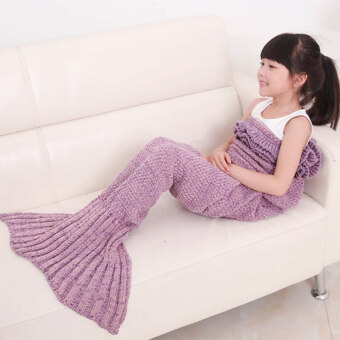 Harga Warm and Soft Kids Knitted Living Room Sofa Mermaid Blanket For All Seasons(Light Purple)