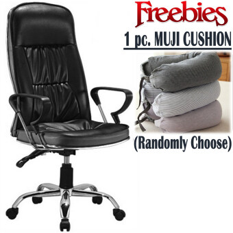 Harga PU Leather Luxury Director Office Chair [Black] with FREE MUJI Neck Cushion (Randomly Choose)