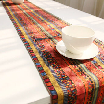 Harga High Quality A1x A:30*140 Pastoral national wind retro cotton Coffee table flag