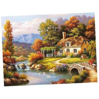 Harga BolehDeals Frameless DIY Painting By Numbers Canvas Painting Art Picture Forest Cottage