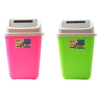 Harga GARBAGE DUSTBIN WITH SWING CAP (2 UNITS) - PINK & GREEN