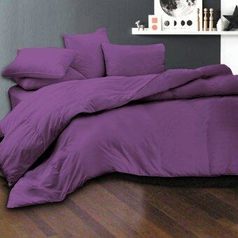 Harga Essina 100% Cotton 620TC Fitted Bed sheet set + Quilt Cover - Candies Eggplant