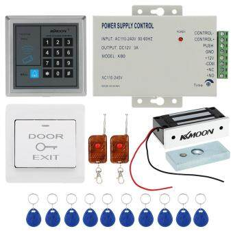 Harga KKmoon� DC12V 125KHz Door Entry Access Control System with Access Reader + 60KG Electric Magnet Lock + Power Supply + Push Button + 2*Remote Controller + 10*RFID Card