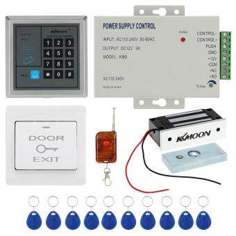 Harga KKmoon� DC12V 125KHz Door Entry Access Control System with Access Reader + 60KG Electric Magnet Lock + Power Supply + Push Button + 1*Remote Controller + 10*RFID Card