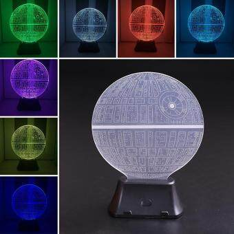 Harga Star Wars Death Star 3D LED Night Light Touch Switch Table Lamp 7 Color Gift