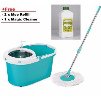 Harga Easy Spin Mop with stainless steel bucket with free 2 mop refill+ 1 MAGIC CLEANER