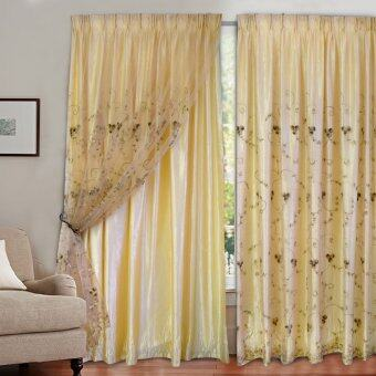 Harga Essina French Pleated 2 Layer Sliding Door Curtain Basil (Gold)