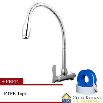 Harga Aleno AK732 Wall Mounted Flexible Kitchen Sink Water Tap Faucet + Free Gift