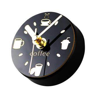 Harga Home Office Coffee Shop Creative Leisure Magnetic Refrigerator Circular Clock with Drinking Cups Coffee Beans Patterns Black