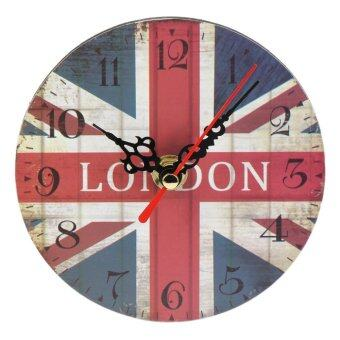 Harga OH Artistic Silent Creative European Style Round Antique Wooden Home Wall Clock