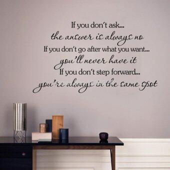 "Harga Inspirational Quotes Wall Stickers Removable Decal Home Decor ""if you don't go after you want,you will never have it"""
