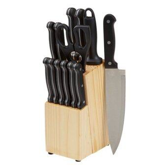 Harga US AmazonBasics 14-Piece Knife Set with Wooden Block