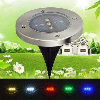 Harga Outdoor Lighting Light-operated Solar Power 3 LED Round Buried Lamp Underground Warm Light