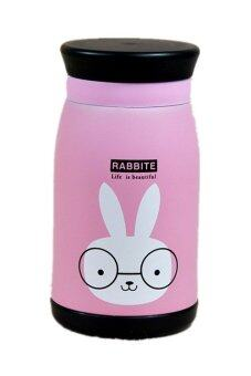 Harga Super Cute Pink Rabbit Stainless Steel Thermos Double Wall Vacuum Coffee Cup Travel Mug 350ml HZ147