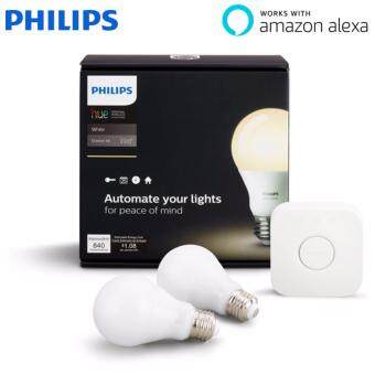 Harga Philips Hue White A19 Starter Kit with two A19 LED light bulbs and bridge (hub) Works with Alexa