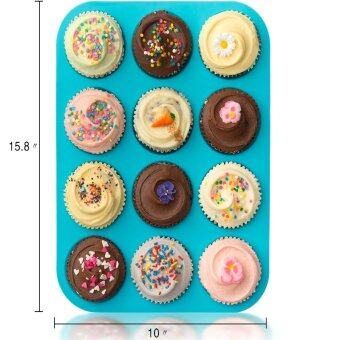 Harga BAAFFECT Non Stick Bakeware for Muffins Cakes and Cupcakes Heat Resistant 12 Cups Silicone Mold Baking Tray Blue
