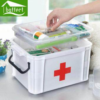 Harga First Aid Kit Box Large Family Home Medicine Chest Cabinet Health Care Plastic Drug Storage Box 24x18x14cm