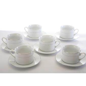 Harga Giacomo Quality Porcelain Cup & Saucer with Silver Rim- 6pax