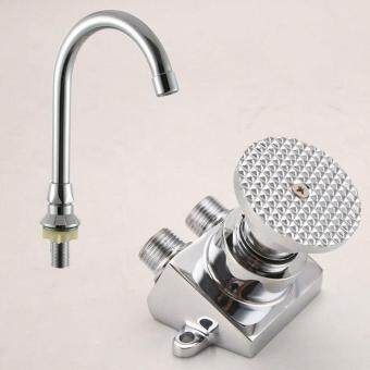 Harga BaiDaiMoDeng Full Copper Faucet Basin Pedal Hospital Laboratory Single Cold Foot Tap Switch control valve