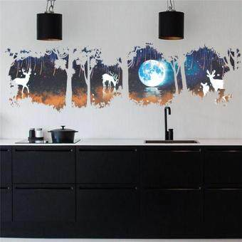 Harga Mysterious Night of Forest Elk Deer Full Moon Home Decor Living Room Wallpaper Bedroom Decals Mural Art Posters