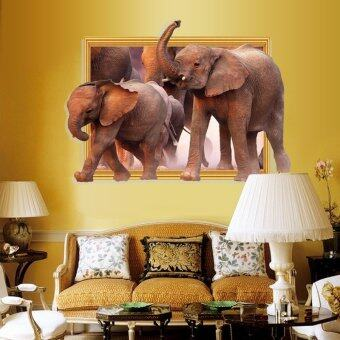 Harga 3D Elephants Stickers Creative Home Wall Decor Wall Sticker Animal Kids Room Decorative Vinyl Stikers