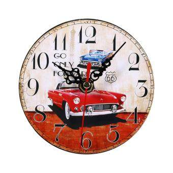 Harga Creative Wall Clock Vintage Style Wooden Round Clocks Home Decoration (#2)