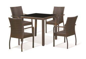 Harga Lavin GS 8128 Rattan Outdoor Dining Set (Black)