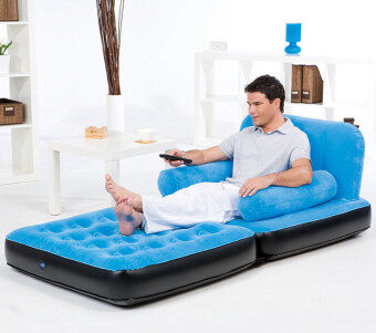 Harga BESTWAY (67277) 5 in 1 Multifunction Inflatable Air Sofa Single Bed Mattress [bc124] - (Blue)
