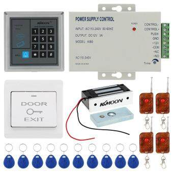 Harga KKmoon� DC12V 125KHz Door Entry Access Control System with Access Reader + 60KG Electric Magnet Lock + Power Supply + Push Button + 4*Remote Controller + 10*RFID Card Tomnet
