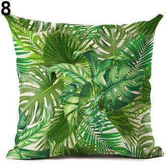 Harga Broadfashion Tropical Green Plant Leaves Flower Linen Cushion Cover Pillow Case Home Decor 8 Green Leaves