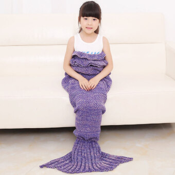 Harga Warm and Soft Kids Knitted Living Room Sofa Mermaid Blanket Quilt (Purple) (Intl)