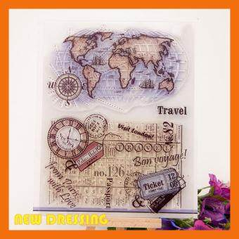 Harga World Map and Background Clear Stamp
