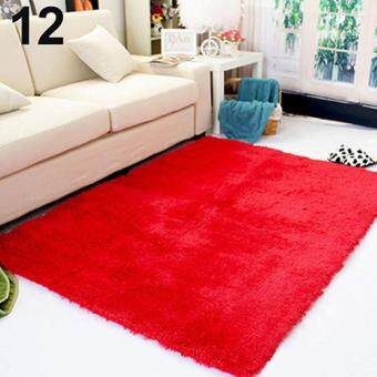 Harga Sanwood Living Room Bedroom Home Anti-Skid Soft Shaggy Fluffy Area Rug Carpet Floor Mat (Red)