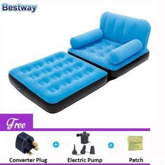 Harga BESTWAY (67277) 5 in 1 Multifunction Inflatable Air Sofa Single Bed Mattress [bc124] - (Blue) - Premium