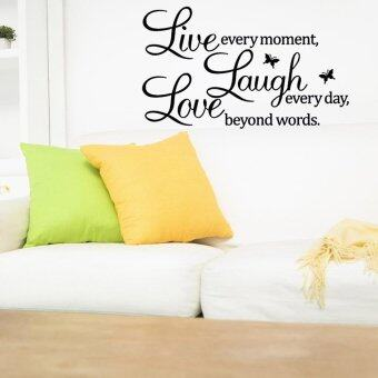 Harga 360WISH Live every moment, Laugh every day, Love beyond words. With 2 Butterflies Wall Sticker Black (EXPORT)