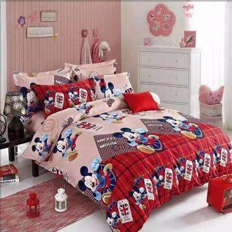 Harga Matahari KING Fitted Bedsheet Set 100% Cotton - MICKEY MOUSE RED - 4 PCS -(HOMEMADE)