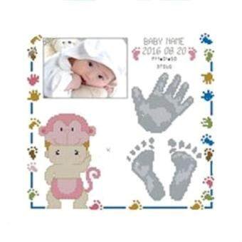 Harga DIY Counted Cross Stitch New Born Baby Birth Record Photo Frame ( Embroidery Kit)