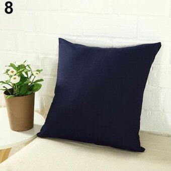 Harga Broadfashion Fashion Simple Solid Color Throw Cushion Square Cover Pillow Case Home Decor (Navy Blue)