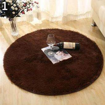 Harga Broadfashion Home Decoration Bedroom Hall Pure Color Round Velvet Carpet Cushion Door Floor Mat S (Coffee)