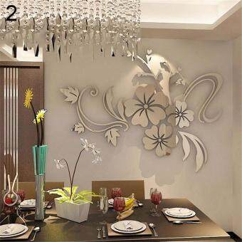 Harga Broadfashion 3D Mirror Flower Removable Wall Sticker Acrylic Art Decal Home Room Decor Sliver