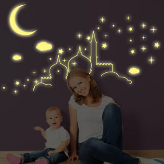 Harga Fluorescent Stars Islamic architecture Castle Moon clouds Wall Stickers Luminous Stars Cartoon Kids Room Nursery Mural Decal