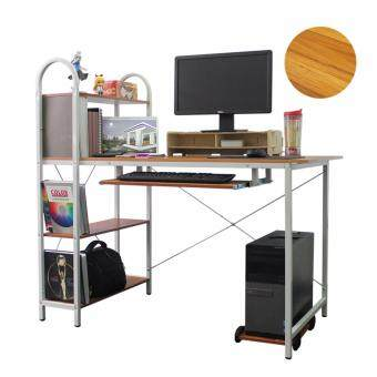 Harga LivingCabinet Wooden Computer Table with Storage Rack PC Stand (Brown)