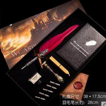 Harga Marvogo Antique Nature Feather Dip Pen Set English Calligraphy Carved Pen New Year Gift Creative Gift Birthday Gift Quill Pen Stationery Gifts(shengqi wine red)
