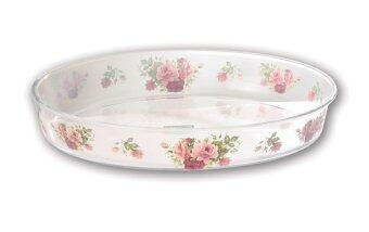 Harga Giacomo 4L Decorated Oval Borosilicate Glass Roaster - Rose Delight