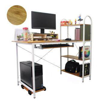 Harga LivingCabinet Wooden Computer Table with Storage Rack PC Stand Keyboard Tray (Beige)