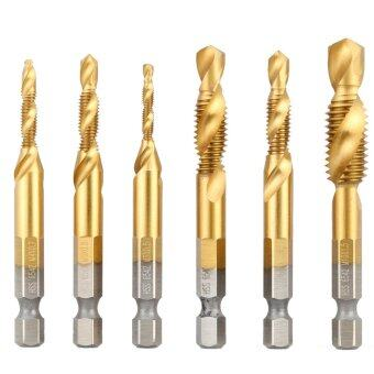 Harga 6 Pcs/set High Quality HSS 6542 Titanium Coated Woodworking Combined Tap and Drill Metric Deburr Countersink Bits Strong Hex Shank Spiral Tap M3 M4 M5 M6 M8 M10