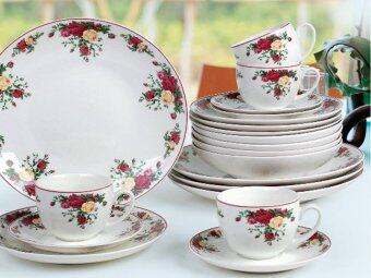 Harga Giacomo Ruby Rose 20pcs translucent dinner set