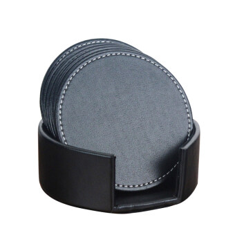Harga 6pcs/set Round Leather Office Desk Coasters Set With Holder for Drinks - Black