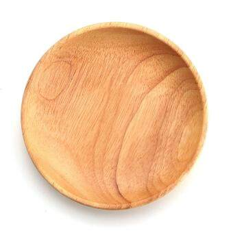 Harga 12CM Round Wooden Plate Breakfast Food Snack Serving Tray Salad Bowl Platter Wood